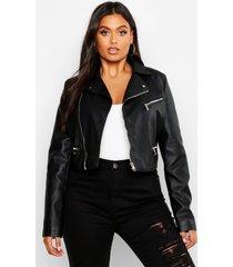 plus nepleren stud kraag cropped biker jas, zwart
