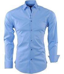 ferlucci heren overhemd napoli slimfit stretch licht blauw