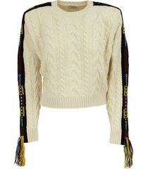 etro plaited sweater with jacquard ribbon and tassels