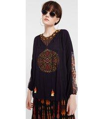 ethnic blouse puffed sleeve - black - xl