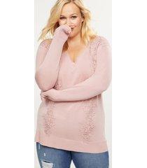 lane bryant women's lace applique sweater 18/20 pale mauve