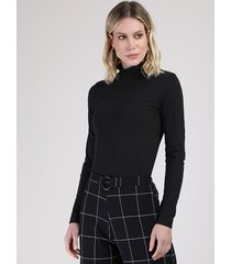 blusa feminina básica manga longa gola alta preta
