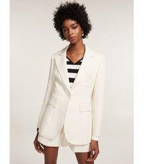 tommy hilfiger women's nautical crest tailored blazer bone white - 8