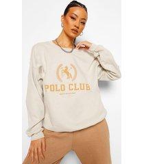 oversized polo club sweater, sand
