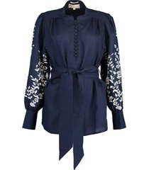 navy embroidered linen belted blouse