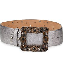 dolce & gabbana women's glass embellished studded leather & suede belt - silver - size 65 (xs)