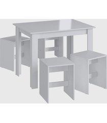 conjunto mesa 4 banquetas branco mã³veis canã§ã£o - branco - dafiti