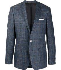 boss hugo boss fine knit check patterned blazer - blue