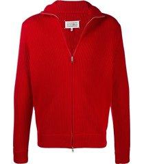 maison margiela ribbed-knit zip-up sweatshirt - red