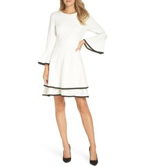 women's bell sleeve fit and flare, size 4 - ivory