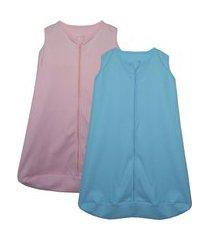 kit 2 saco de dormir bebê azul e rosa enxoval pijama algodão
