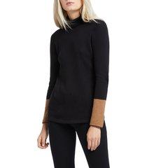 petite women's nic+zoe balance contrast cuff turtleneck cotton blend sweater, size petite p - black
