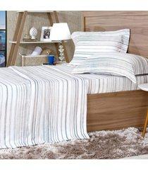 jogo de cama 300 fios queen 100% algodão pentado listras - tessi
