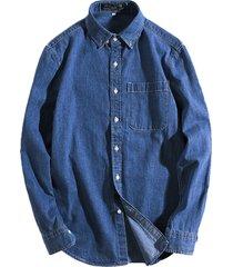 manicotto a manica lunga in denim moda tinta unita vintage casual camicia per uomo
