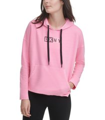 dkny sport logo hooded cotton sweatshirt