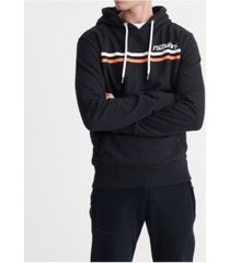 superdry men's core logo sport stripe hooded sweatshirt