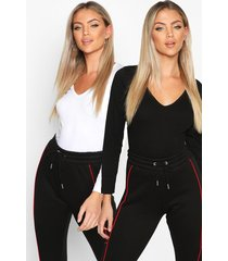 2 pack v neck long sleeve top, blackwhite
