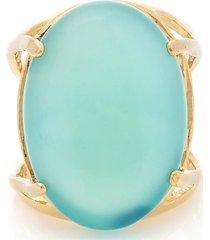 anel  oval  semijoia banho de ouro 18k pedra natural bonamita turquesa