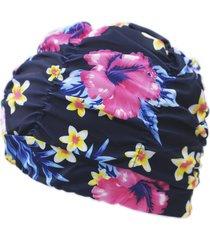 cuffia per il nuoto della cuffia di plastica flessibile del paraorecchie pieghettata flessibile del cappuccio del berretto di nylon floreale delle donne