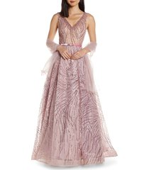 women's mac duggal cat tail sequin a-line gown