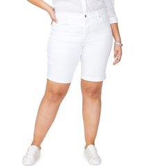 plus size women's nydj briella cool embrace roll cuff shorts, size 24w - white