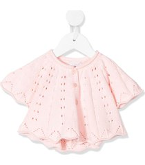 il gufo pleated short sleeved cardigan - pink