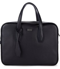boss hugo boss men's leather messenger bag - navy