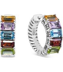 "effy multi-gemstone small hoop earrings (3 ct. t.w.) in sterling silver, 0.6"""