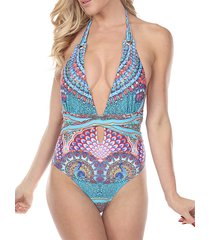one-piece embellished print swimsuit