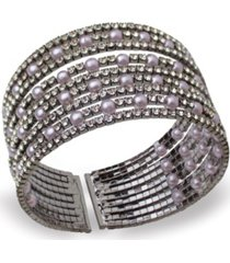 statement imitation pearl and stone cuff bracelet