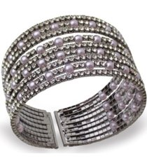statements imitation pearl and stone cuff bracelet