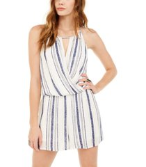 bcx juniors' striped surplice romper