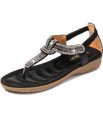 sandalias con cuentas de diamantes de imitación en forma de t mujer-negro