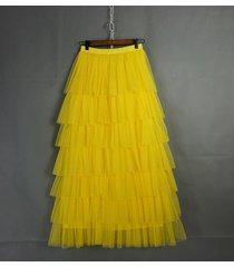 layered full long tulle skirt women mesh tulle skirt yellow bridesmaid skirt nwt