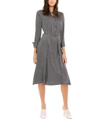 alfani printed belted fit & flare dress, created for macy's