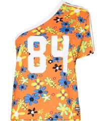 adidas x lotta ringer one-shoulder floral-print t-shirt - orange