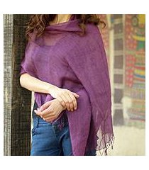 linen shawl, 'sheer amethyst' (india)