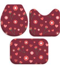 kit 3 tapetes decorativos para banheiro wevans flores vermelho