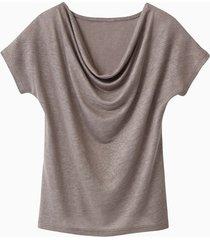 shirt met watervalhals, taupe 40/42