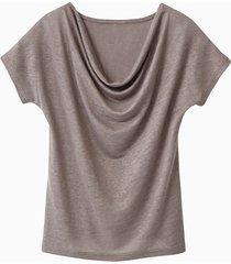 shirt met watervalhals, taupe 34
