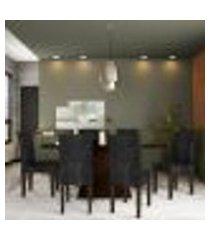 conjunto de mesa de jantar rebecca ii com vidro e 6 cadeiras grécia suede castor e preto