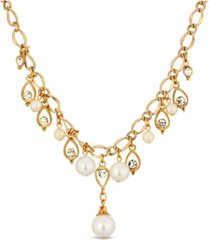 2028 gold tone crystal imitation pearl drop necklace