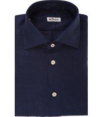 navy-blue linen button-up linen shirt