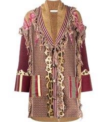 etro frayed oversized cardi-coat - neutrals
