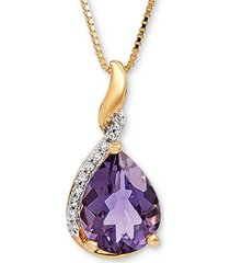 """amethyst (1-3/8 ct. t.w.) & diamond accent 18"""" pendant necklace in 14k gold"""