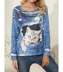 camicetta casual da donna a maniche lunghe con scollo a stampa gatto