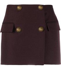 balmain double-breasted wool mini-skirt - brown