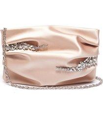 abby' crystal embellished ruch silk clutch