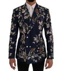 bird print silk slim fit blazer jacket