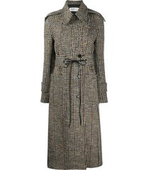 victoria beckham tie-waist tweed tench coat - black